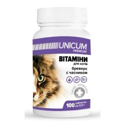 Витамины UNICUM Premium  бреверс с чесноком для котов, 100табл/50г