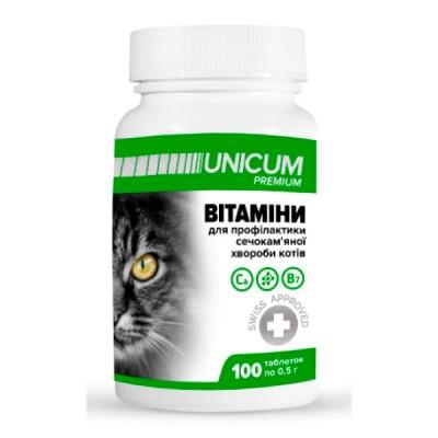 Витамины UNICUM Premium для котов для профилактики мочекаменной болезни, 100табл/50г
