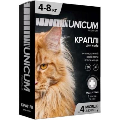 Капли UNICUM Premium от блох и клещей для котов весом 4-8 кг (имидаклоприд)