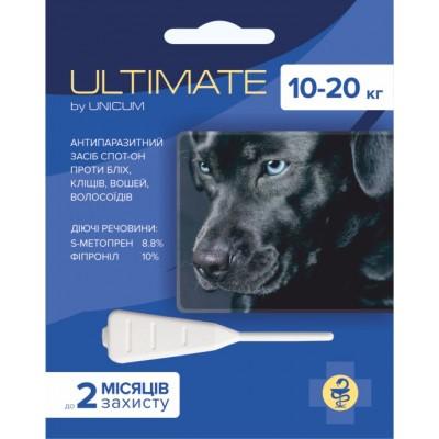 Капли Ultimate от блох, клещей, вшей и власоедов для собак весом 10-20 кг (s-метопрен, фипр)