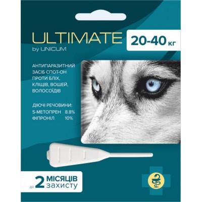 Капли Ultimate от блох, клещей, вшей и власоедов для собак весом 20-40 кг (s-метопрен, фипр)