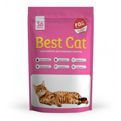 Силикагелевый наполнитель Best Cat для кошачьего туалета Pink Flowers, 3,6 л