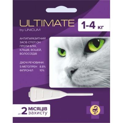 Капли Ultimate от блох, клещей, вшей и власоедов для котов весом 1-4 кг (s-метопрен, фипр)
