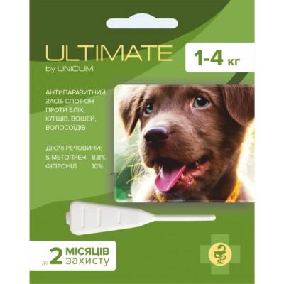 Капли Ultimate от блох, клещей, вшей и власоедов для собак весом 1-4 кг (s-метопрен, фипр)